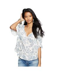 Denim & Supply Ralph Lauren | Blue Cotton Gauze Boho Top | Lyst