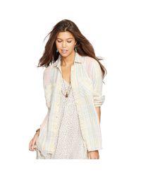 Denim & Supply Ralph Lauren | White Plaid Cotton-linen Twill Shirt | Lyst