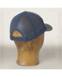 RRL - Blue Indigo Striped Trucker Hat for Men - Lyst