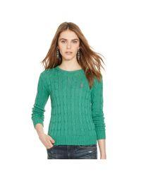 Polo Ralph Lauren | Blue Slim Cable Crewneck Sweater | Lyst
