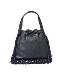 Polo Ralph Lauren | Black Fringed Leather Sling Bag | Lyst