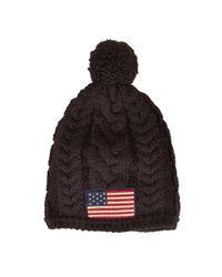 Polo Ralph Lauren | Black Flag Patch Cable-knit Hat for Men | Lyst