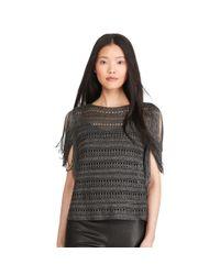 Polo Ralph Lauren | Black Fringed Metallic Pullover | Lyst