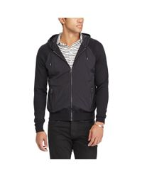 Polo Ralph Lauren | Black Paneled Cotton Hooded Sweater for Men | Lyst