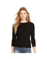 Polo Ralph Lauren | Black Slim Cable Cashmere Sweater | Lyst