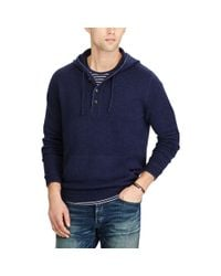 Polo Ralph Lauren - Blue Merino Wool Henley Hoodie for Men - Lyst