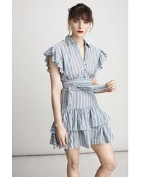 Rebecca Taylor | Blue Yarn-dyed Striped Dress | Lyst