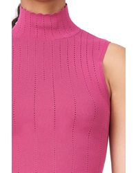 Rebecca Taylor - Multicolor Pointelle Knit Mock Neck Tank - Lyst