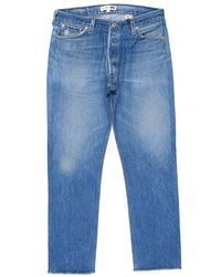 Re/done - Blue Relaxed Crop - Lyst