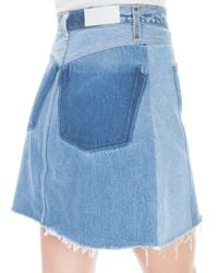 Re/done - Blue Button Front Mini Skirt - Lyst