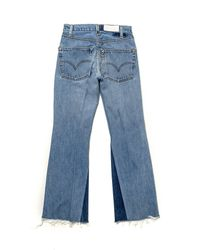 Re/done - Blue High Rise Crop Flare - Lyst