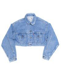 Re/done - Blue Cropped Denim Jacket - Lyst