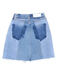 Re/done - Blue High Rise Mini - Lyst