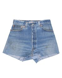 Re/done - Blue High Rise Short - Lyst