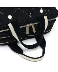 Chanel - Travel Line Black X White Nylon Waterproof Hand Bag - Lyst