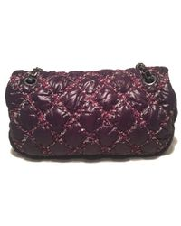 8e10615537f7 Lyst - Chanel Plum Purple Quilted Puffy Nylon Classic Flap Shoulder ...