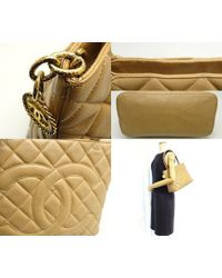 Chanel - Natural Medallion Handbag A01804 Caviar Skin Beige /59909 - Lyst