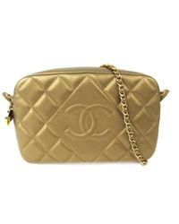 Lyst - Chanel Chain Shoulder Bag Gold Leather Quilted Cc in Metallic 19dcddc6e3b41