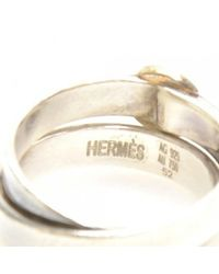 Hermès - Metallic Silver Belt Motiff Ring - Lyst