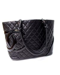 1a0d834521e861 Lyst - Chanel Cambon Line Large Tote Shoulder Bag Black Calf Leather ...