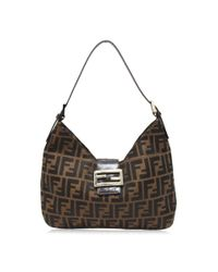 ddc6f32801 Lyst - Fendi Zucca Shoulder Bag Brown Canvas X Leather in Brown