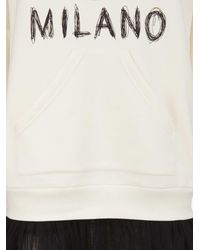 Moschino - Natural Beige Cotton Sweater Dress With Maxi Iconic Logo On The Front And Black Tulle Skirt - Lyst
