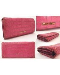 Miu Miu - Crocodile Embossed Zipper Long Wallet Pink - Lyst