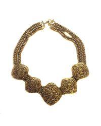 Chanel - Metallic Vintage Crew Neck In Gilded Metal Mesh Chain - Lyst