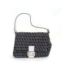 6d02c601b73 Lyst - Fendi Canvas Mommy Bag Zucca Pattern Shoulder Bag in Black