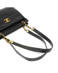 Chanel - Vintage Black Lambskin Leather Medium Shoulder Tote Bag - Lyst