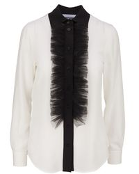 Moschino - White Shirt With Tulle Ruffles And Classic Black Collar, Button Closure for Men - Lyst