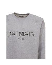 Balmain - Black Sweatshirt Grigio Chiaro Nero for Men - Lyst