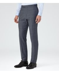 Reiss - Blue Monroe Check Wool Modern Fit Suit for Men - Lyst