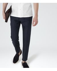 Reiss | Black Cloud Linen Trousers for Men | Lyst
