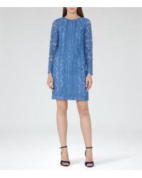 Reiss   Blue Suki Lace Shift Dress   Lyst
