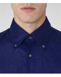 Reiss - Blue Mayor Slim Linen Shirt for Men - Lyst