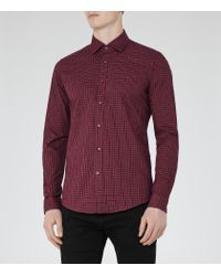 Reiss | Red El Rouge Check Slim Fit Shirt for Men | Lyst