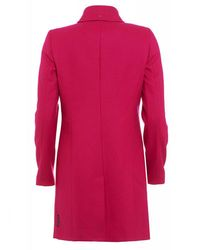 Armani - Fuchsia Pink Wool Buckle Neck Coat - Lyst