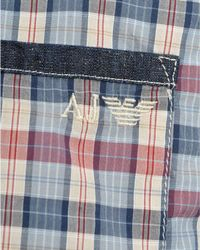 Armani Jeans - Multicolor Shirt, Sky And Red Checked Comfort Fit Shirt for Men - Lyst