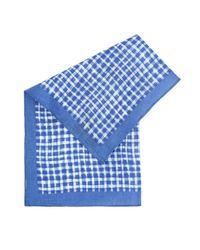 BOSS - Pocket Square Blue Check Linen Scarf for Men - Lyst