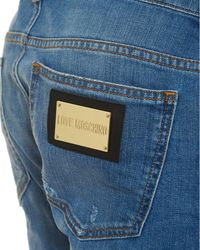 Love Moschino Slim Fit Distressed Jeans, Gold Hardware Light Blue Jeans for men