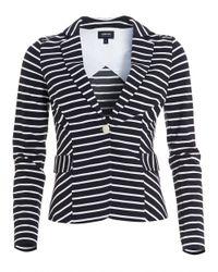 Armani Jeans - Striped Blazer, Stretch Jersey White Navy Blue Jacket - Lyst