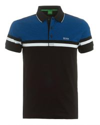 BOSS Green - Paule 5 Polo, Central Stripe Black Polo Shirt for Men - Lyst
