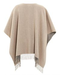 Fraas - Gray Reverse Bicoloured Woollen Grey Camel Poncho - Lyst