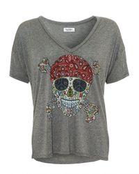 Lauren Moshi - Gray Brixton T-shirt, Heather Grey V-neck Skull Tee - Lyst