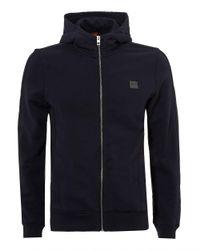 BOSS by Hugo Boss - Ztadium Hoodie, Panel Sides Navy Blue Sweatshirt for Men - Lyst
