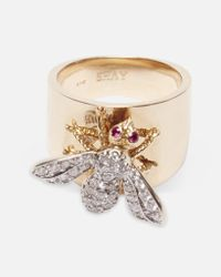 SHAY - Multicolor Pave Diamond Bee On Cigar Band W/ Diamond Rings - Lyst