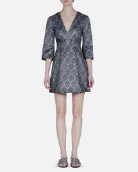 SUNO | Gray Silver Metallic Deep V-neck Dress | Lyst