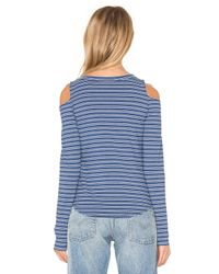 LNA - Blue Ashley Jane Cold Shoulder Stripe Top - Lyst