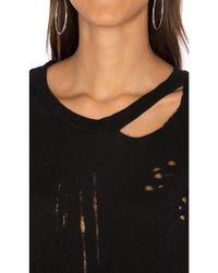 NYTT - Black Distressed Slub Tee Dress - Lyst
